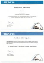 Сертификат об участии и выступлении Л. Джумановой в Международной конференции достижений высшего образования