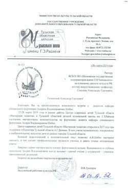 Благодарность А.В.Шибко от директора Тульской музыкальной школы И.В.Лукопрова