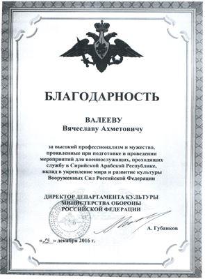 Благодарность В. А. Валееву