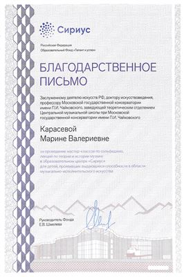 Благодарность М. В. Карасёвой от руководителя фонда «Талант и успех» Е. В. Шмелёвой