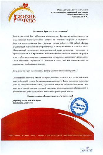 Благодарность Я. А. Кабалевской от директора Благотворительного фонда А.Черепановой