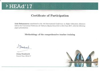 Сертификат о выступлении Л. Джумановой в Международной конференции достижений высшего образования