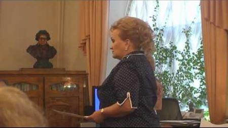 Lyubov Sliska Is Speaking at the Meeting of the Board of Trustees