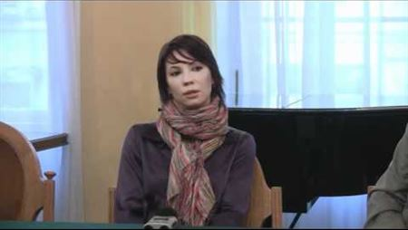 Press conference about the competition for the composing of music for the ballet Chaplin. Maria Alexandrova