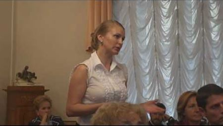 A. Sakhno Is Speaking at the Meeting of the Board of Trustees